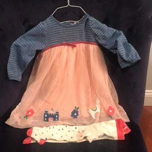 Mini Boden dress and tights 6-12m